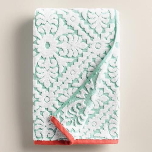 One of my favorite discoveries at WorldMarket.com: Aqua and Coral Barcelona Tile Sculpted Bath Towel
