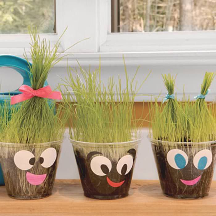 #9 – Plant Pals While this activity will take a little more time to come to fruition, kids will be extremely proud of themselves when they see what they've grown in these adorable plant pal containers! Source: Home Tips World