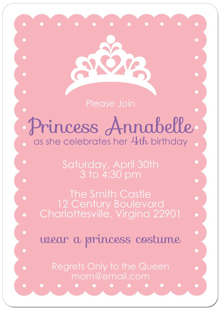 60 best hadley's princess party images on pinterest | princess, Birthday invitations