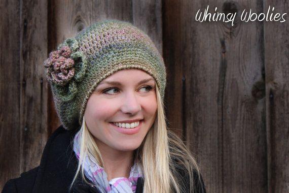 Crochet Pattern: 'Raspberry Beret' with Flower, Crochet Hat, Women, Children & Toddler