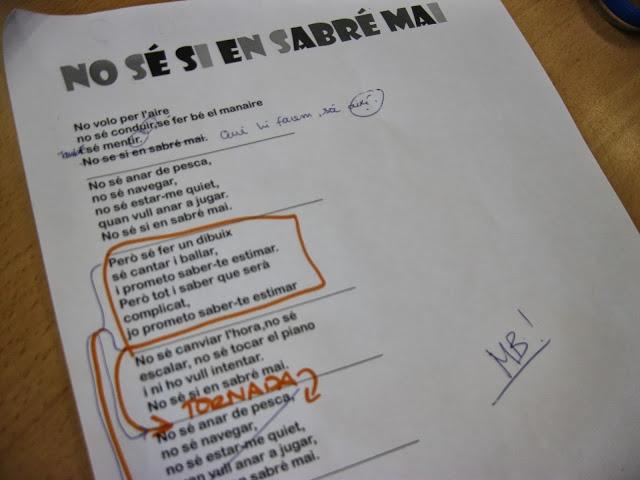 Treball d'expressió escrita a partir d'una cançó de la Beth. Cicle Superior