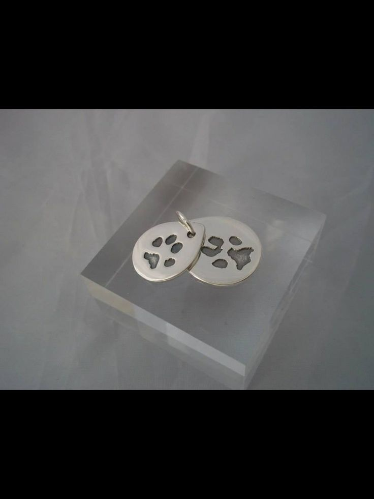 Cute paw prints on fine silver with an antique finish. Personalised keepsake