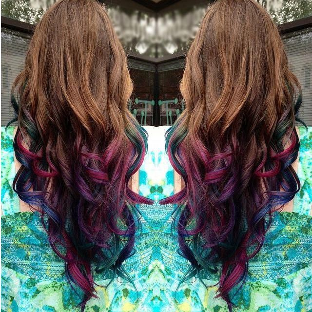 Brown To Purple Dip Dye Mermaid Ombre Indian Remy Clip In