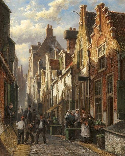 Willem Koekkoek (Amsterdam 1839-1895 Nieuwer-Amstel (thans Amstelveen)) Drukbevolkt Hollands straatje bij namiddagzon - Kunsthandel Simonis en Buunk, Ede (Nederland).