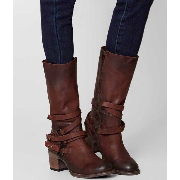 Freebird By Steven Coy Boot - Brown US 10 ($295) ❤ liked on Polyvore featuring shoes, boots, brown, tall brown boots, brown boots, steven by steve madden shoes, real leather boots and round cap