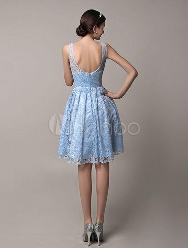 Vestido de dama de honra de ilusão de laço azul curto com Scoop volta - Milanoo.com