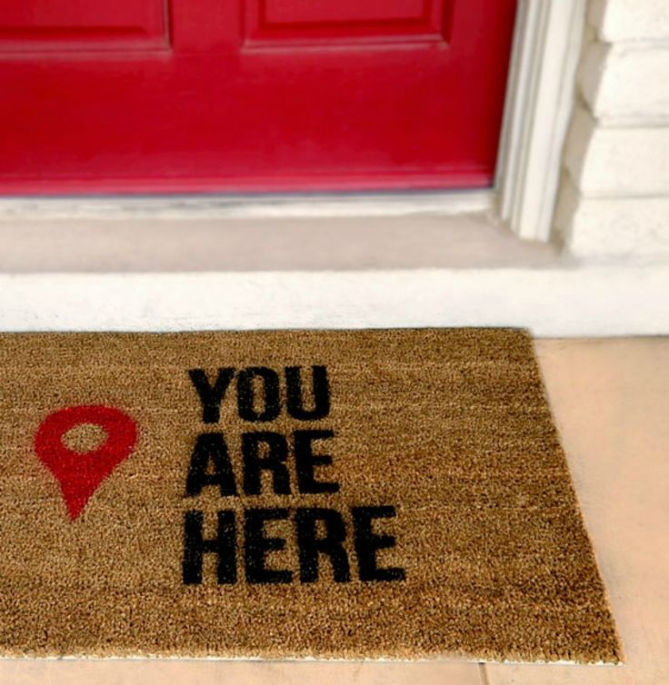 Guests will have a laugh & know they've arrived at the right spot when they are welcomed by a 'You are here' stenciled door mat! - Everyday Dishes & DIY