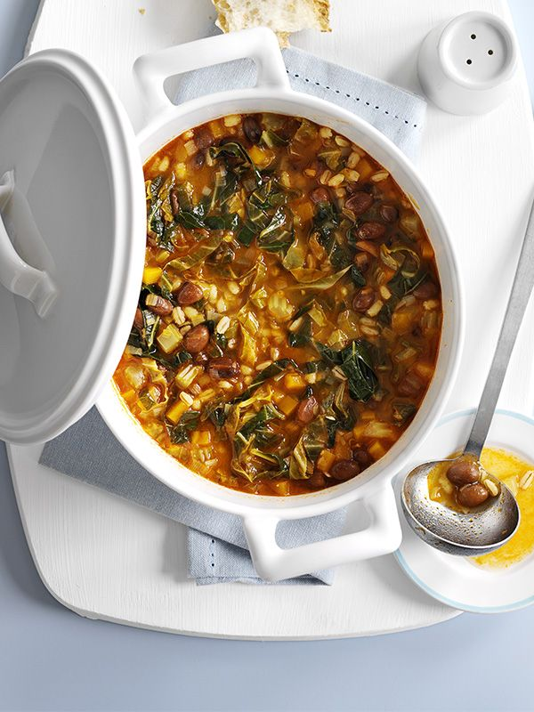 This recipe for Tuscan bean and barley stew is a perfect one to have on hand for a quick midweek meal. It's ready in 30 minutes, serves 4 and is under 200 calories. You can use any leafy greens for this, just whatever you have around.