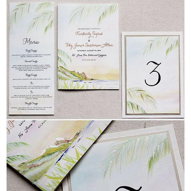 Hawaii Wedding Stationery In Soft Tones And Shimmery Finishes!!  #handpainted #weddinginvitations #