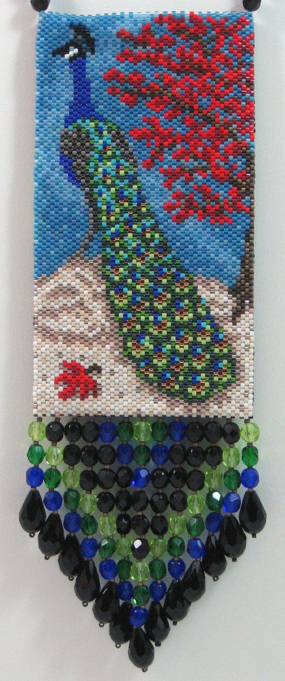 Elegant Peacock Beaded Amulet Bag Necklace or Wall Art by LazyRose