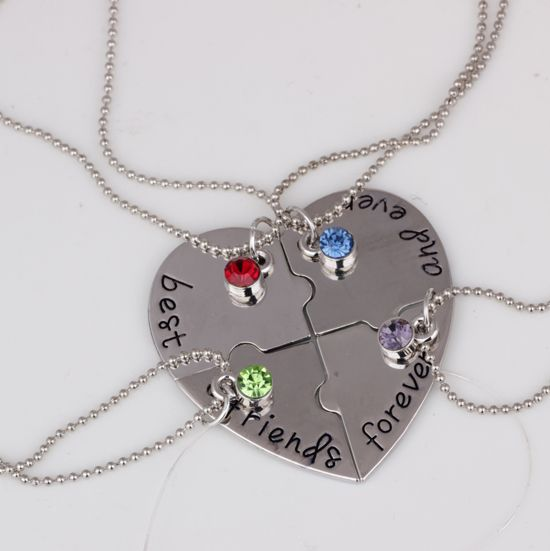 Heart Pendant Necklace Best Friends Forever And Ever 4 Piece Heart Puzzle Necklace Set long necklace for women YPQ0259-in Pendant Necklaces from Jewelry on Aliexpress.com | Alibaba Group