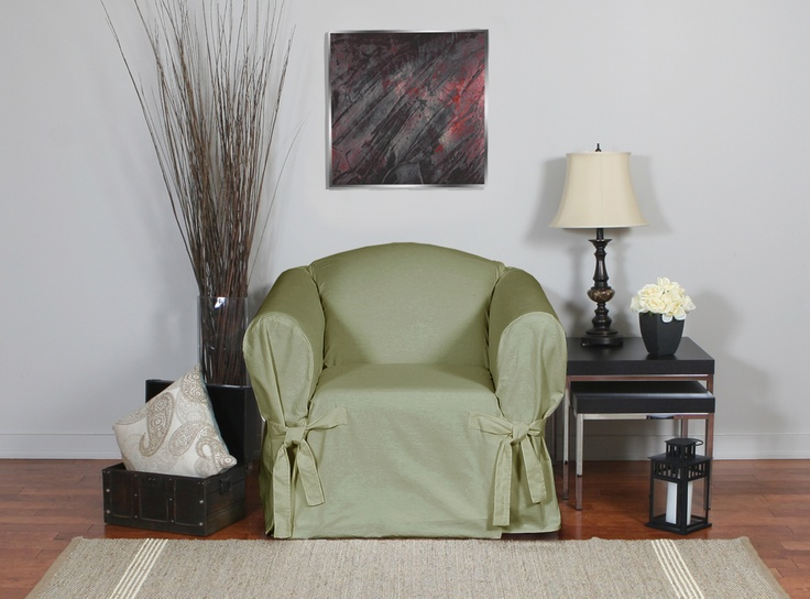 Duck Sage Chair Slipcover. Cotton slipcover in light green. Upholstery for home renovation. Home decor. Chic interior design