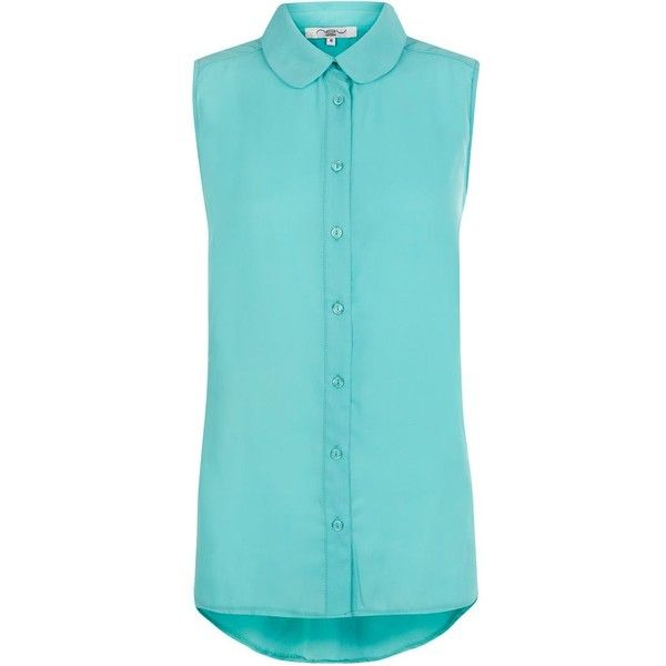 Mint Green Sleeveless Peter Pan Collar Shirt (12 AUD) ❤ liked on Polyvore featuring tops, shirts, sleeveless button up shirt, mint green shirt, mint shirt, blue top and shirt top