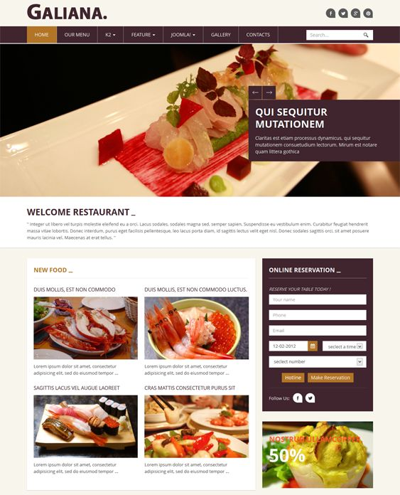 This restaurant Joomla template has a responsive layout, Bootstrap integration, sticky navigation, parallax scrolling, a built-in food menu, 6 preset color schemes, Font Awesome icons, a reservation form, and more.