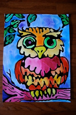 3rd Grade art lesson idea!  Use Elmer's Glue, black acrylic paint and water colors.