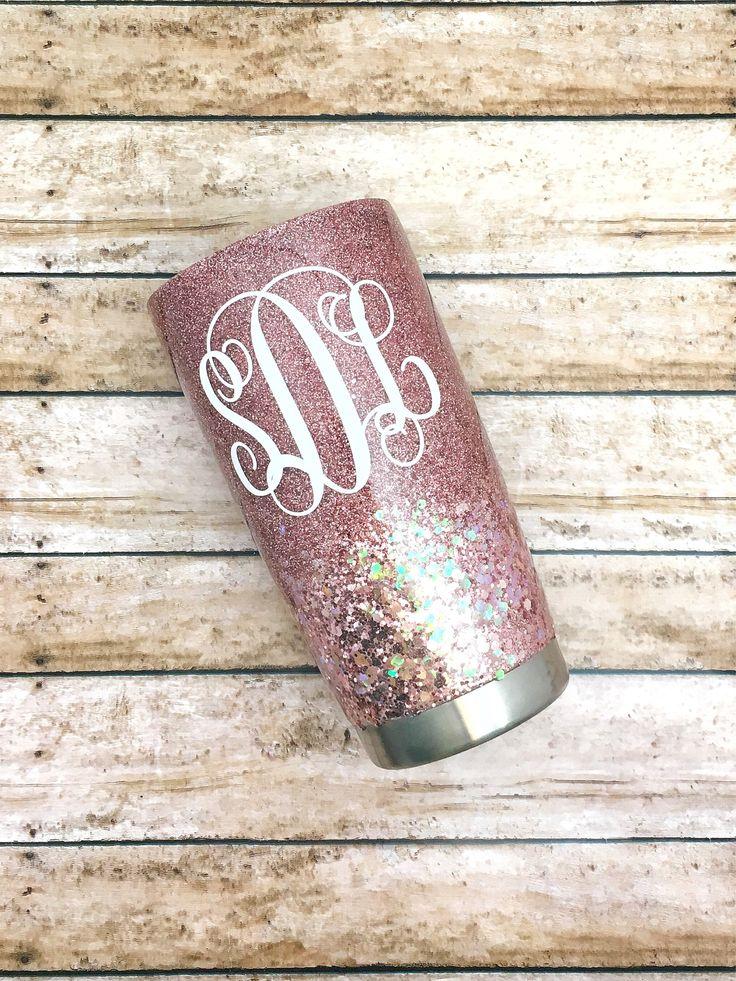 20 oz Tumbler-30 oz Tumbler-Rose Gold Glitter-Glitter Yeti-Custom Glitter Cup-Personalized Glitter Cup-20 oz Yeti-20 oz Yeti Tumbler