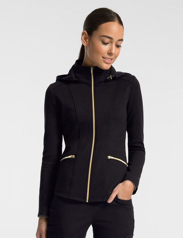 9eacd864838 The Ponte Sprint Jacket in Black is a contemporary addition to women's  medical outfits. Shop Jaanuu for scrubs, lab coats and other medical  apparel.