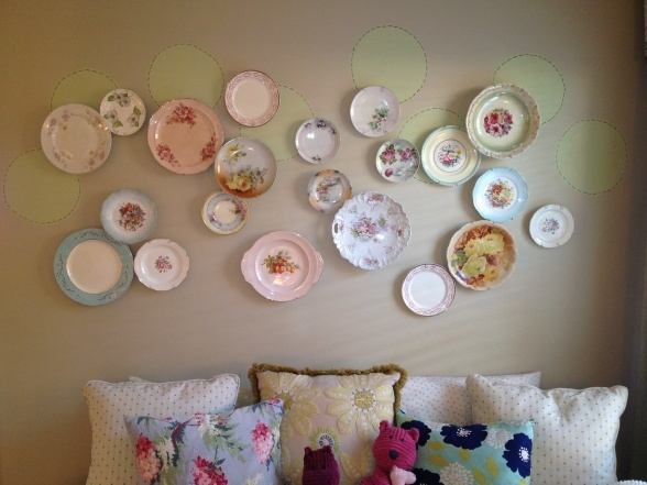 "Vintage plates create the perfect space for a tea party in this play room from DIY user ""amymscott_12878525."""