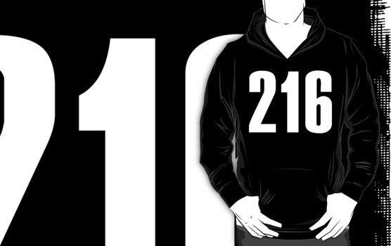 216 Cleveland [White Ink] | Phone Area Code Shirts Stickers by FreshThreadShop