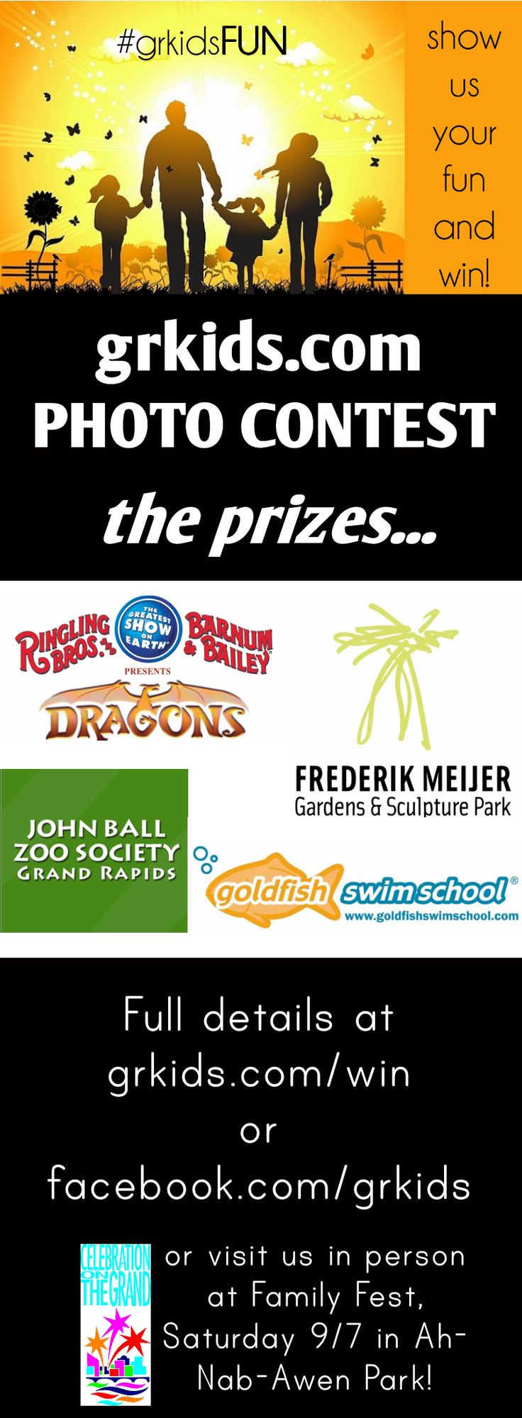 PHOTO CONTEST FOR GRAND RAPIDS FAMILIES - WIN! Ringling Bro Tickets! Also, Meijer Garden, Zoo Tickets and Goldfish Swim School Lessons!!   grkids.com