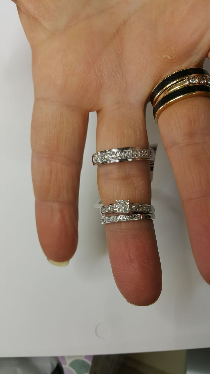 rings on hand trio ring set bt529w engagement ring