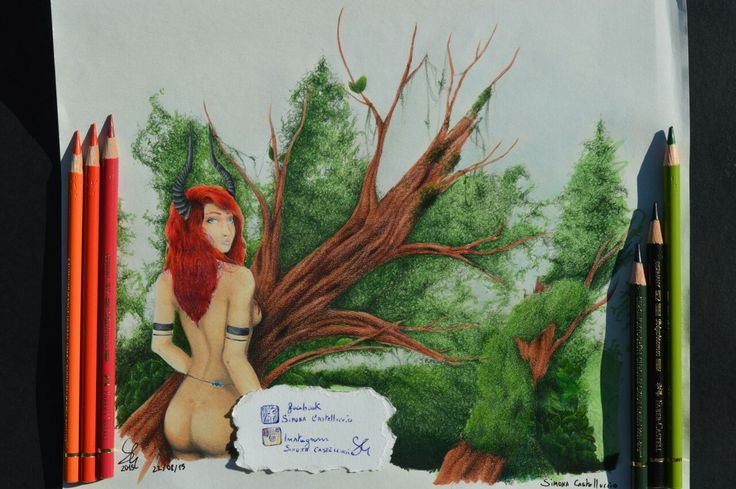 It was difficult to color the landscape !!!!#traditionalart #art #draw #drawing #illustrationoftheday #illustration #polychromos #pensil #color #nature #grass #tree #redhair #horn #horngirl