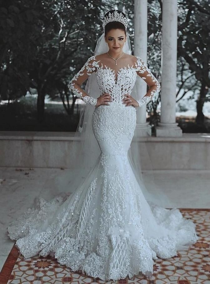Mermaid Wedding Dresses African Lace 2019 Long Sleeve Plus Size Backless Vintage Bridal Gowns Lace Vestido De Noiva Sweep Train Silk Mermaid Wedding Dresses Bes Long Sleeve Mermaid Wedding Dress Bridal