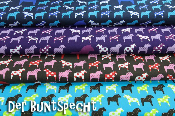 """Kinderstoffe - Jersey Stoff """"Dala-Pferde"""" nur dunkelblau - ein Designerstück von DerBuntspecht bei DaWanda"""