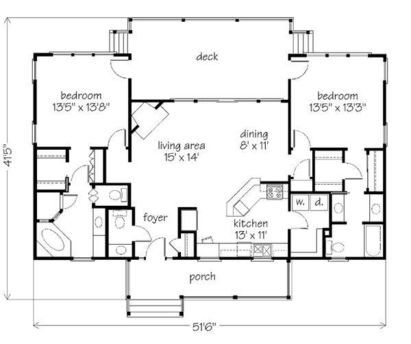 De 25 b sta id erna om 2 bedroom house plans hittar du p for 2 bedroom lake house plans