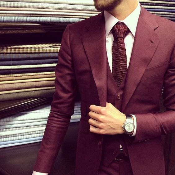 burgundy suit style