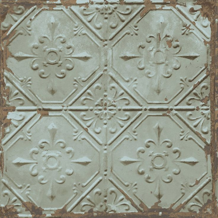 A Street Prints Tin Tile Wallpaper - This industrial reclaimed tin tile effect wallpaper features a weathered copper plate with a verdigris patina on square tin tiles with copper showing through.