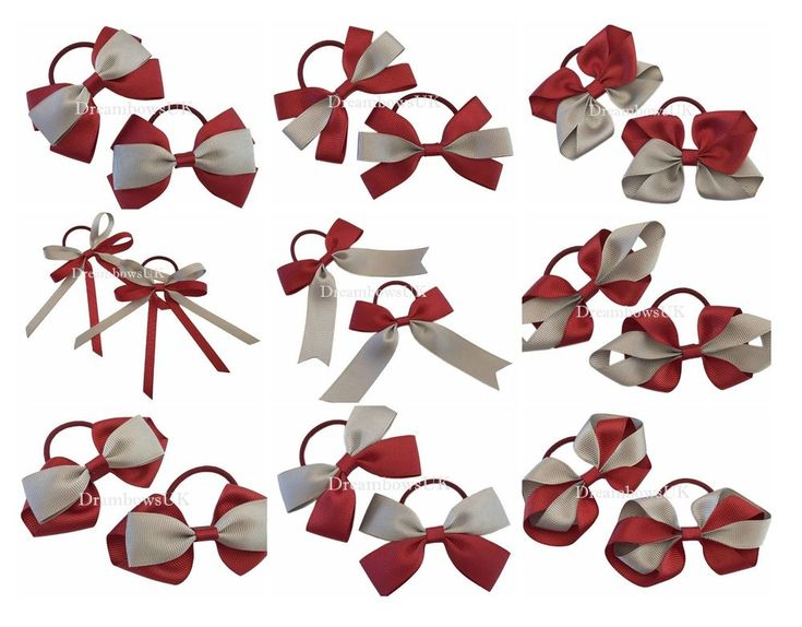 Burgundy and grey grosgrain ribbon hair bows on thin bobbles, school hair bows #DreambowsUK