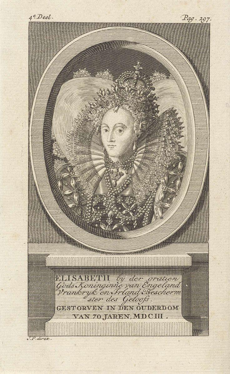 Jan Punt   Portret van Elizabeth I Tudor, koningin van Engeland, Jan Punt, 1751   Portret van Elizabeth I Tudor, koningin van Engeland. Op de piëdestal haar naam, functie en sterfdatum in het Nederlands.