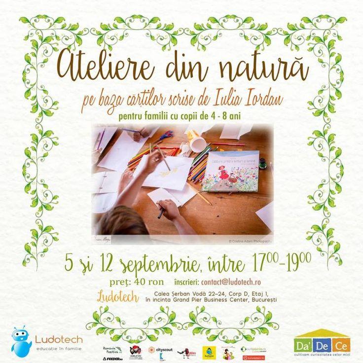 """Vă invităm la două ateliere creative adresate deopotrivă grădinițelor și școlilor primare inspirate pe de o parte de natură pe de altă parte de cele două cărți românești pentru copii: """"Călătorie printre ierburi"""" și lumină și """"Luli și căsuța din copac"""" de Iulia Iordan apărute la Editura Cartea copiilor.Data: 5 și 12 septembrieOre: 17:00 - 19:00Inscrieri: contact@ludotech.roPreț: 40 ron/copil/atelierVârstă recomandată: 4-8 aniLoc:Ludotech Calea Serban Voda 22-24…"""