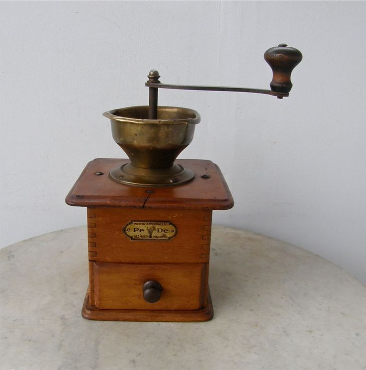 DUTCH COFFEE MILL Grinder Maple Wood Brass Grinding Cup Single Drawer Iron Crank Wooden Knob Fancy Joinery Signed Pe De Holland Early 1900's by OnceUpnTym on Etsy