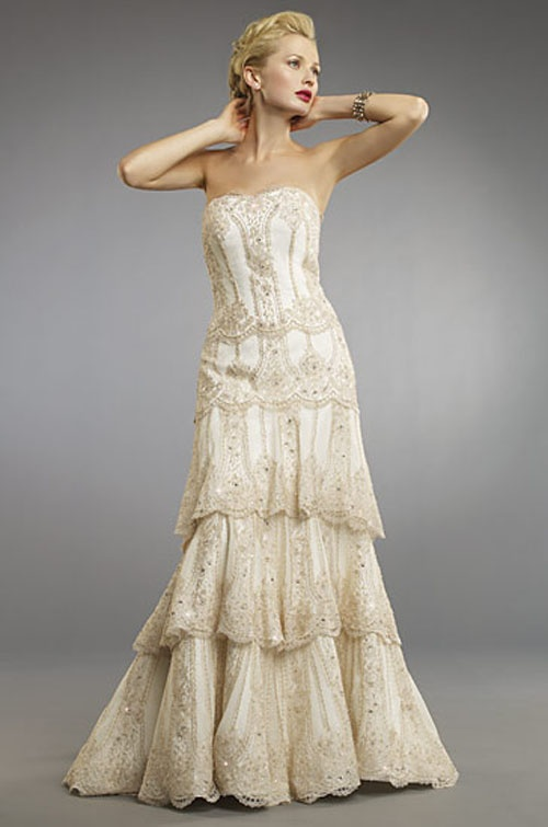 88 best champagne wedding dresses images on pinterest for Champagne color wedding dresses