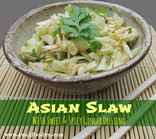 Asian Slaw with Sweet & Spicy Ginger Dressing (dairy-free) #coleslaw #paleo