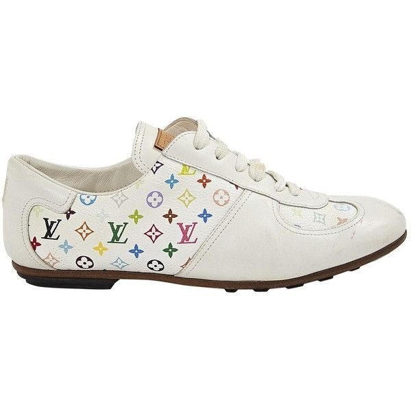 Pre-owned Louis Vuitton Leather Trainers ($258) ❤ liked on Polyvore featuring shoes, sneakers, white, women shoes trainers, colorful sneakers, louis vuitton sneakers, white trainers, low sneakers and lace up shoes