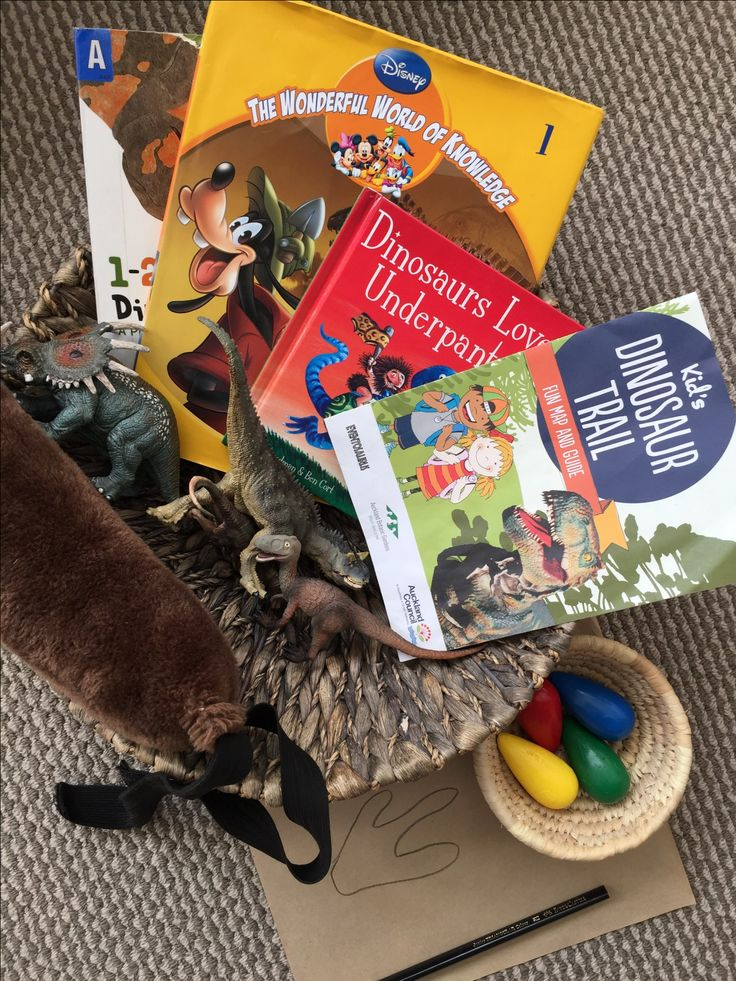 Interest baskets - great way to follow an interest your little one has. This one is for dinosaurs of course!
