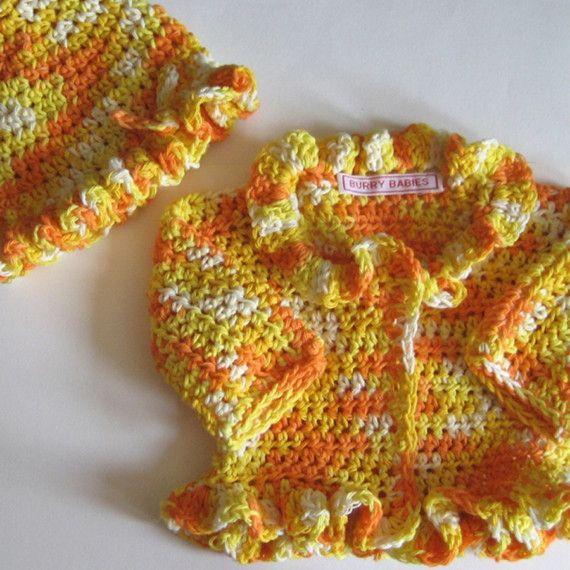 Sunshine Newborn Crochet Sweater and Hat Set by BurryBabies