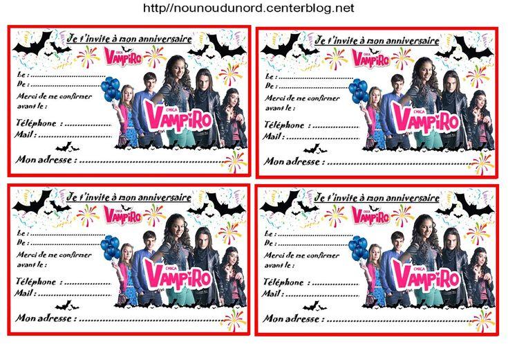 anniversaire etiquettes cadeaux et invitations chica vampiro pour les anniversaires des. Black Bedroom Furniture Sets. Home Design Ideas