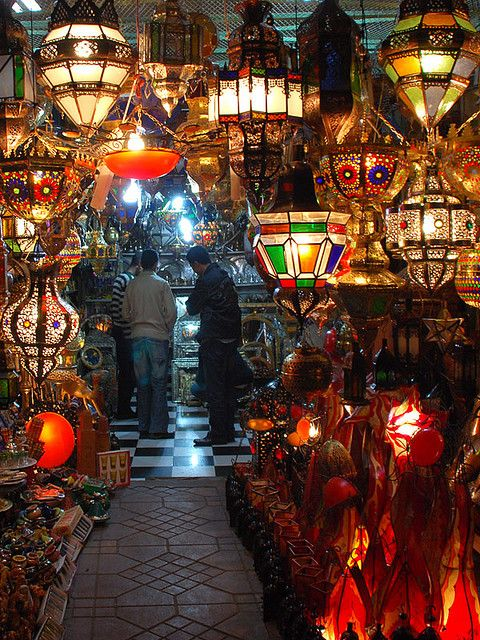 Colorful lamps in the souk of Marrakech, Morocco