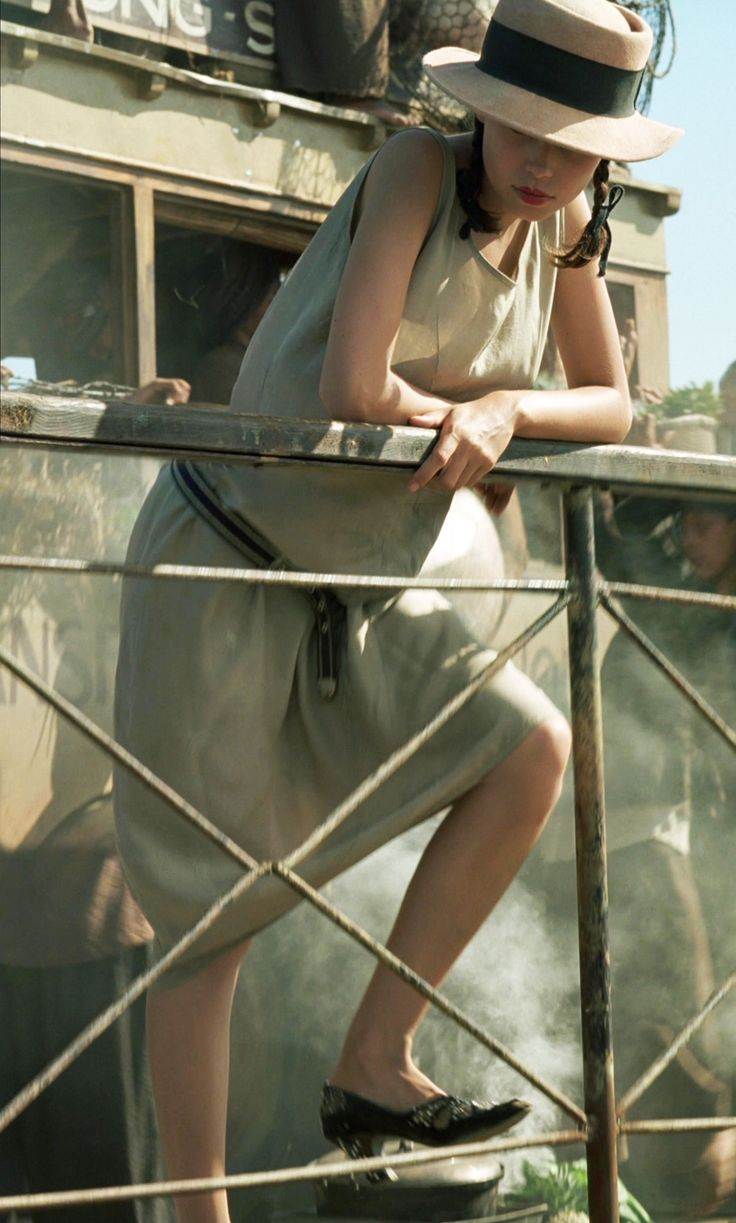 """Jane March (""""the Girl"""")'s ratty silk dress in The Lover."""