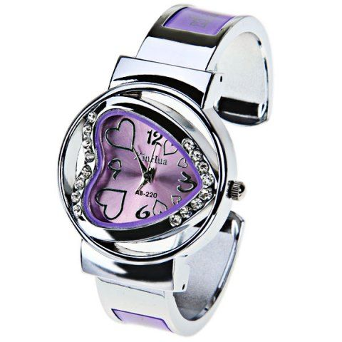 XinHua Quartz Watch with 4 Arabic Numbers and Hearts Indicate Steel Watch Band for Women - Purple Watches | RoseGal.com Mobile