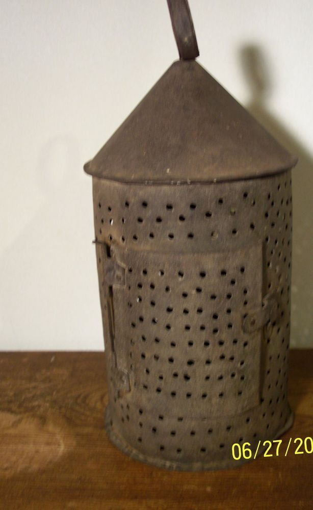 Antique 1800's Primitive Folk Art Punched Tin Candle Lantern