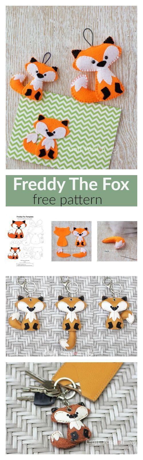 free pattern for a felt fox key ring