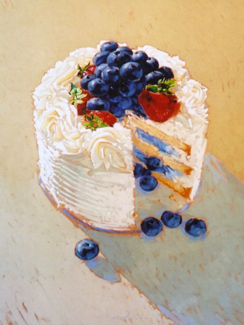 Chantilly Cake by Kim Starr. Basically backlit.  Lots of underpainting visible.  Not photorealistic and yet, I really want a slice!