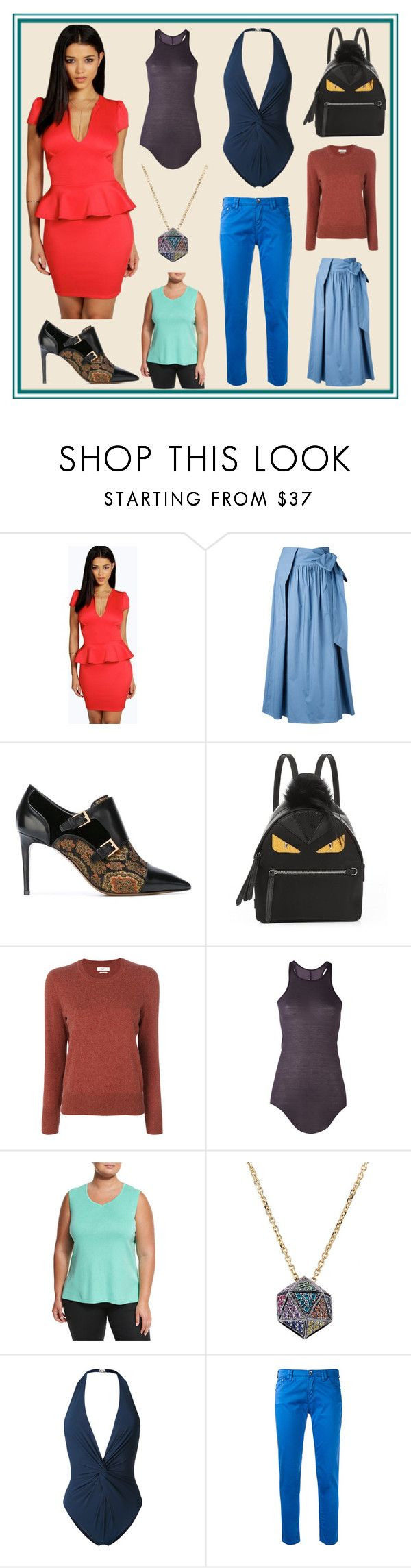 """""""Day of fashion show"""" by cate-jennifer ❤ liked on Polyvore featuring Boohoo, H Beauty&Youth, Etro, Fendi, Rick Owens, Ming Wang, Noor Fares, Fleur of England and Armani Jeans"""
