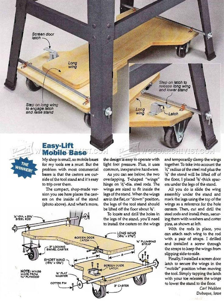 DIY Mobile Base - Workshop Solutions Plans, Tips and Tricks | WoodArchivist.com