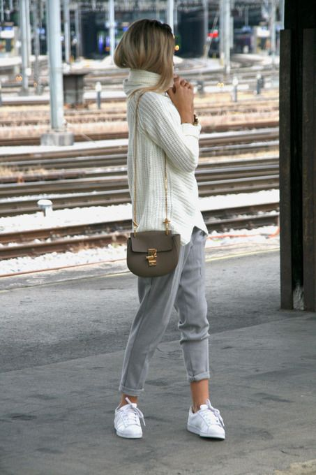 White High Neck Sweater Grey Pants